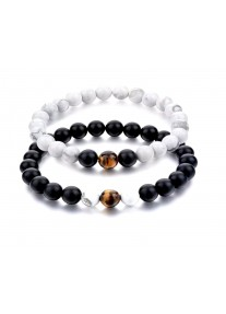 Beaded Treasure Natural Stone Couples' Bracelet Set Black Agate, Tigers eye, Howlite