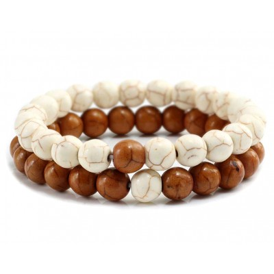 Beaded Treasure Natural Stone Couples Bracelet Set - Howlite Brown