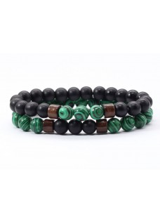Beaded Treasure Couples' Stone Bracelet Set - Malachite
