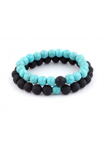 Beaded Treasure Natural Stone Couples' Bracelet Set Turquoise