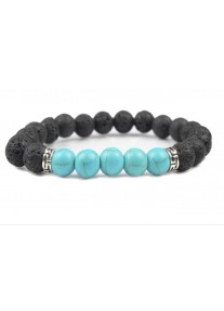 Beaded Treasure Natural Stone Lava Rock Bracelet with Turquoise Howlite