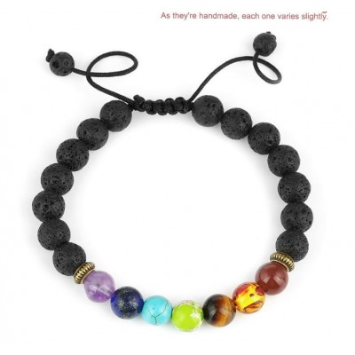 Boldly Boho Natural Lava Rock Chakra Essential Oil Diffuser Bracelet