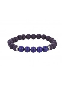 Beaded Treasure Natural Stone Lava Rock Bracelet with Lazurite