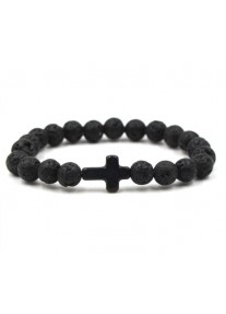 Beaded treasure Lava Rock Bead Bracelet with Matt black Cross
