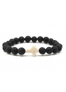 Beaded Treasure Natural Stone Lava Rock Bead Bracelet with Ivory Marble Cross