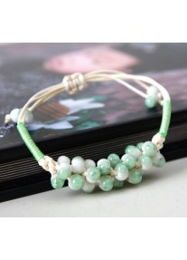 Hand woven cream hemp rope bracelet - speckled  beads - Pea Green