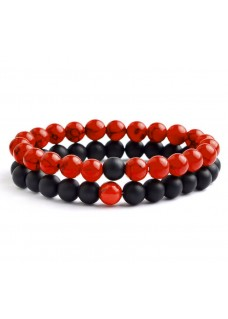 Beaded Treasure Natural Stone Couples Bracelet Set - Red Howlite Black Agate