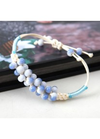 Hand woven cream hemp rope bracelet - speckled  beads - Sky Blue