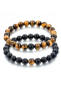 Beaded Treasure Natural Stone Couples' Bracelet Set Black Agate, Tiger's Eye