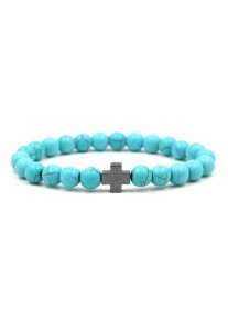 Beaded Treasure Natural Stone Bracelet with cross - Turquoise
