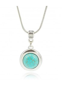 Boldly Boho Tibetan Silver Dainty Necklace with Round Turquoise Centre Stone