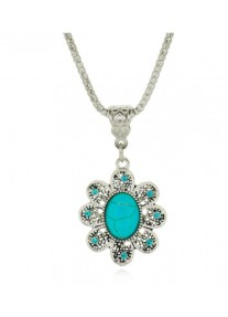 Boldly Boho Tibetan Silver Flower Necklace with Oval Turquoise Centre Stone