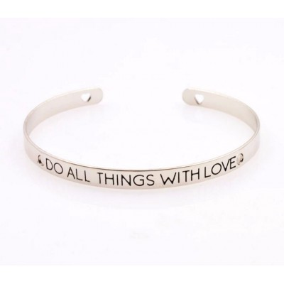 Inspirational Mantra Skinny Cuff Bangle -Do All Things With Love