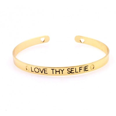 Inspirational Mantra Skinny Cuff Bangle - Love Thy Selfie