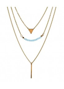 Boldly Boho Multi Layer Necklace Gold - Triangle & Bar