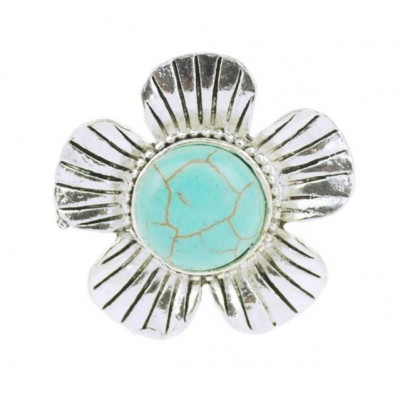 Boldly Boho Flower Ring with Round Turquoise Centre Stone