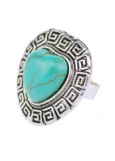 Boldly Boho Geometric Ring with Heart Shape Turquoise Centre Stone