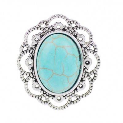 Boldly Boho Lace Ring with OvalTurquoise Centre Stone