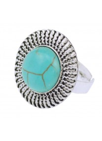 Boldly Boho Chain Ring with Round Turquoise Centre Stone
