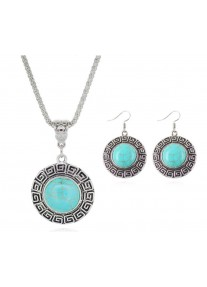 Boldly Boho Geometric Necklace and earring set with Round Turquoise Centre Stone
