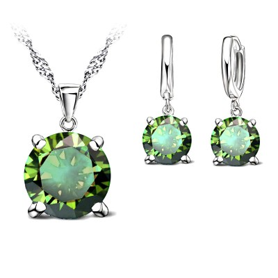 Crystal Chic 925 Silver Cubic Zirconia Necklace & Earring Set - Olive Green