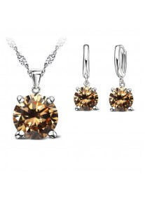 Crystal Chic 925 Silver Cubic Zirconia Necklace & Earring Set - Champagne
