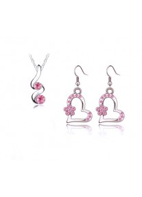Crystal Chic Hearts and Flowers Necklace and Earring set -Pink