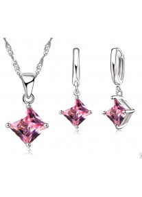 Crystal Chic Square Cubic Zirconia Necklace & Earring Set - Pink