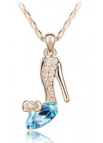 Crystal Chic Cinderella crystal slipper necklace - Aquamarine Blue