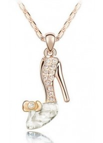 Crystal Chic Cinderella crystal slipper necklace - Crystal Clear