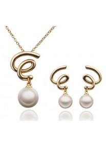 Crystal Chic Gold & Pearl Swirl Pendant and Earring Set