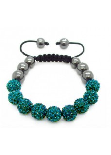 Shamballa Shimmer Crystal Bracelet Colour: Sea Green