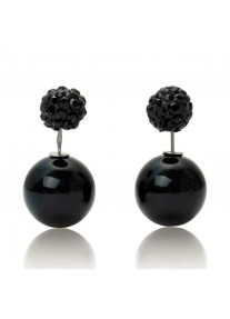 Crystal Chic Shamballa Double Ball earrings - Black