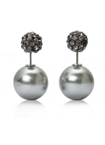 Crystal Chic Shamballa Double Ball earrings - Grey