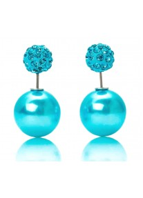 Crystal Chic Shamballa Double Ball earrings - Turquoise Blue