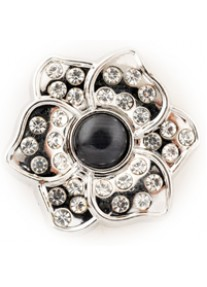 Crystal Snap Black Mirrored Flower