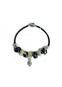Gemmabella European Charm Bracelet - Braided Leather - Black