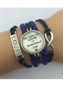 Infinity Bracelet with Glass cabochon Autism - Navy Blue