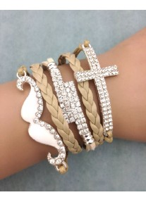 Infinity Bracelet with White Enamel Painted Crystal Moustache, Crystal Encrusted Cross & Bar charms - Beige