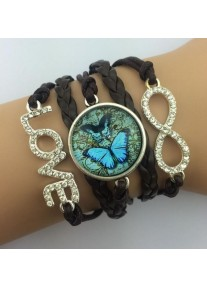 Infinity Bracelet with Crystal Charms Glass cabochon - Antique Butterflies - Black