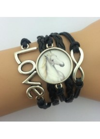 Infinity Bracelet with Glass cabochon - White Stallion - Black