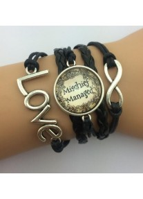 Infinity Bracelet with Glass cabochon - Mischief Managed - Black