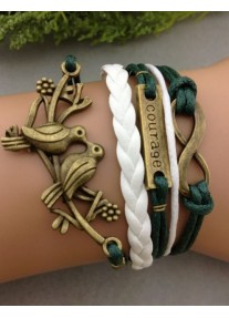 Infinity bracelet Bronze Lovebirds, Courage and Infinity charms - Forest Green / White