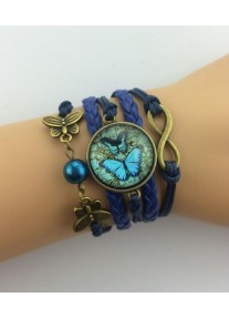 Infinity Bracelet with Glass cabochon - Antique map and Butterflies - Deep Blue