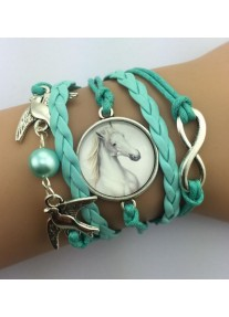 Infinity bracelet with Glass Cabochon - White Stallion - Turquoise