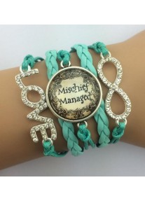 Infinity bracelet Crystal with Glass cabochon - Mischief Managed - Turquoise