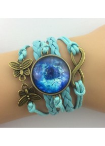 Infinity bracelet with Glass Cabochon - Blue Galaxy