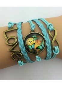 Infinity Bracelet with Glass cabochon - Antique clock and Butterlies - Turquoise