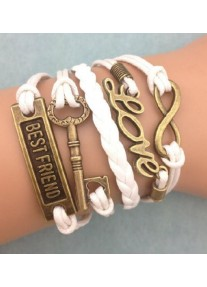 Infinity Bracelet Bronze with Love Best Friend and Key  - White