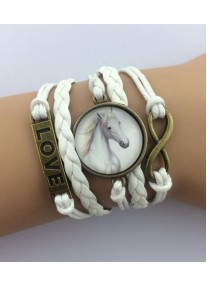 Infinity Bracelet Bronze with Glass cabochon  - White Stallion - White